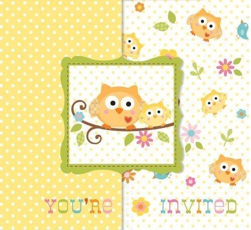 Happi Tree Eule Thema Baby Dusche Party Einladungen & Umschläge x 8
