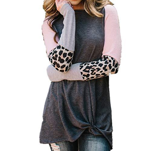 Femmes décontracté TOPS pour femme Imprimé léopard col rond manches longues coupe ample t-shirts Crossed avant Motif Blouse Chemises