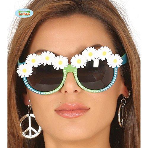 Amakando Hippie Sonnenbrille Schlagermove Flower Power Brille 60er Jahre Partybrille Blütenbrille 1960er 70er Jahre Kostüm Zubehör Flower Power (1960er Jahre Kostüm)