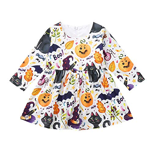 Kinder Cute Billig Kostüm -  Romantic Halloween Kostüme Kinder Baby Langarm Mädchen Halloween Cosplay Kleid Mädchen Festlich Karikatur Kürbis Kostüme Prinzessinen Kleider für Mädchen Verkleiden Party Kleid