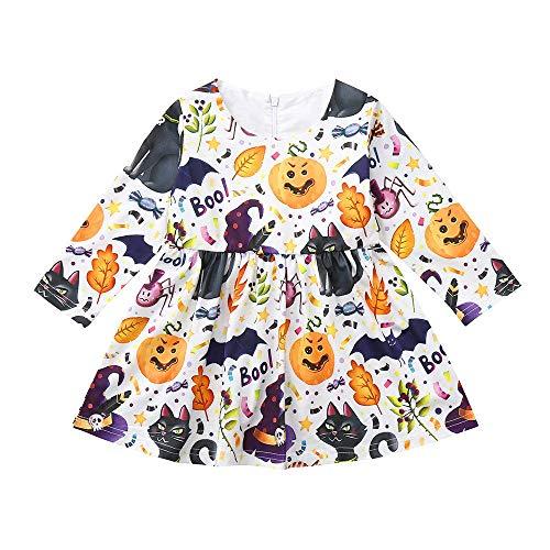 Romantic Halloween Kostüme Kinder Baby Langarm Mädchen Halloween Cosplay Kleid Mädchen Festlich Karikatur Kürbis Kostüme Prinzessinen Kleider für Mädchen Verkleiden Party Kleid (Party Stadt Kostüm Billig)