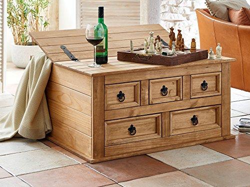 SAM Truhen-Tisch Santa Fe, Kiefernholz, Mexico-Möbel, Couchtisch mit 5 Schubfächern & Einem Stauraum, gewachst,...