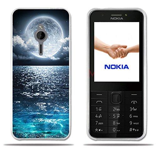 Fubaoda Nokia 230 Hülle, [Super Moon] Transparente Silikon TPU Fashion Kreatives Design Anti-Scratch Smart Schutz Slim Fit Shockproof Flexible 3D zeitgenössischen Chic Design Protector für Nokia 230