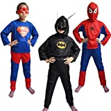 FancyDressWale Spiderman, Superman And Batman Costume For Kids (6-8 Years) - Set of 3