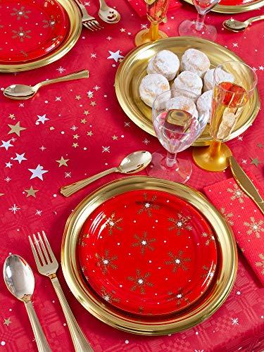 [Pack ahorro] Kit de vajilla desechable elegante con decoración ideal para fiestas - Color rojo y oro dorado - Incluye platos, cubiertos, copas, servilletas y confetti decorativo - 12 personas- 117pcs