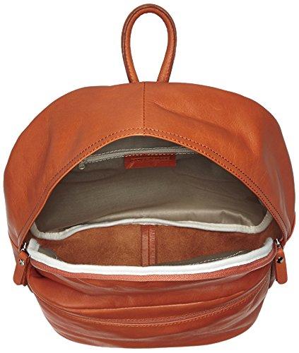CTM Unisex Leder-Rucksack, 30x39x14cm, 100% echtes Leder Made in Italy Orange (Cuoio)