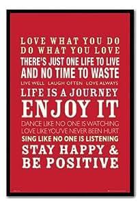 Positive Love et Life Quotes Poster encadré broches Tableau mémo Noir en liège–96,5x 66cm (environ 96,5x 66cm)