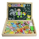 Tablero magnético de dibujo de madera de doble cara Tablero magnético Puzzle Juegos de rompecabezas Juguetes educativos para niños (95 Pcs) - yixin - amazon.es