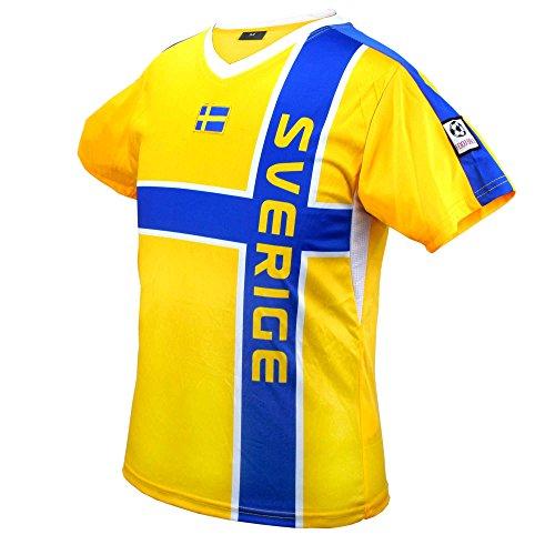 MC-Trend Schweden Sweden Fussball Trikot Gelb Blau Mannschaft Weltmeisterschaft UNISEX (S) (Schweden-fußball-t-shirt)