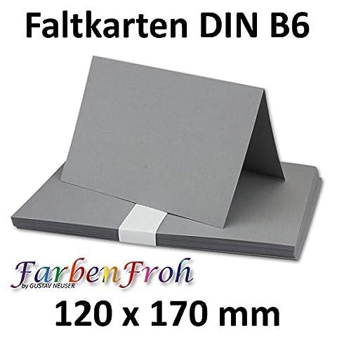 DIN B6 Faltkarten Doppelkarten - Graphitgrau-Dunkelgrau | 25 Stück | Einladungskarten - Menükarten - Blanko | 17 x 12 cm | formstabil | Printable für Drucker geeignet | PREMIUM Qualitätsmarke: NEUSER FarbenFroh
