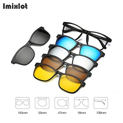 BuyWorld Imixlot 5pc/Set Magnetic Clip Sunglasses Women Glasses with Magnetic Clip on Sunglasses Polarized for Male Multi-Purpose Eyewear