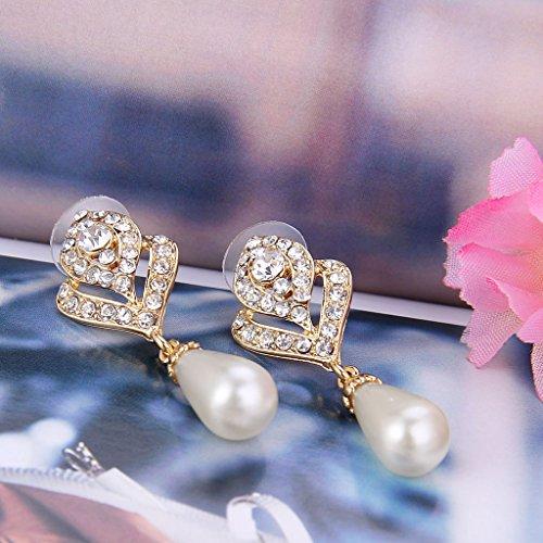 EVER FAITH® Cristal Autrichien Perle Artificielle Crème Fleur Bouton Pendant Boucle d'Oreilles Ton Or(Percé)