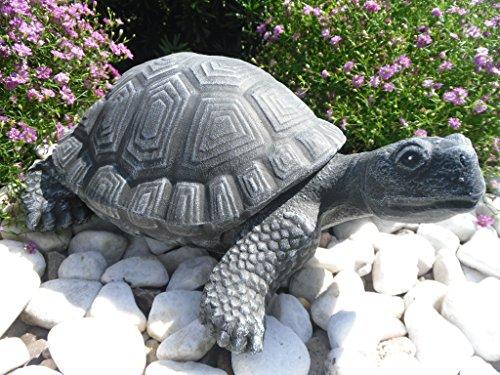 Steinfigur Schildkröte, Gartenfigur Steinguss Tierfigur Basaltgrau