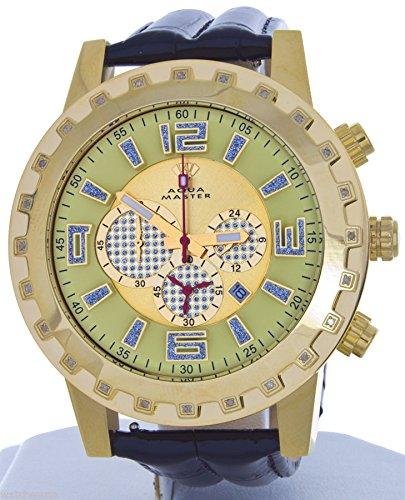 Aqua Master reloj para hombres caso diamante bisel negro correa de cuero para cronógrafo reloj W138