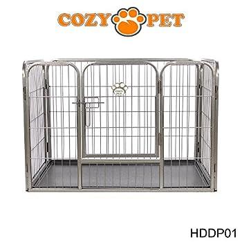 Cozy Pet Parc pour chiot robuste ? 3 tailles différentes ? pour Chiens Chiots Animaux de compagnie - bas avec sol en plastique - en Argent-Gris Taille Petit