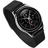 Generic 20mm Acero Inoxidable Watch Band para Samsung Gear S2 Classic, Moda Durable Milanese Banda Muñeca Correa de Reloj Reemplazo Reloj Muñeca Band Watchband Strap Watchband con Magnético Hebilla para Samsung Gear S2 Classic con Connector - Negro(No incluido Watch)