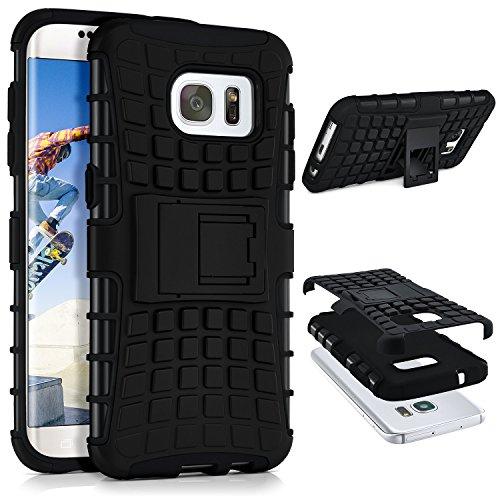 Preisvergleich Produktbild Tank Case für Samsung Galaxy S7 Edge | Outdoor Hülle mit Dual Layer Protection | Handy Schutz Tasche von OneFlow | Back Cover in Schwarz