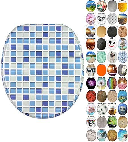 WC Sitz mit Absenkautomatik, viele neue WC-Sitze zur Auswahl, hochwertige Oberfläche, einfache Montage, stabile Scharniere (Mosaik Blau) (Wc-sitze Blau)
