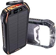 Oxsaytee 26800mAh Solar Power Bank, IP66 Waterproof Portable Solar Charger Outdoor Phone Chargers with LED Lig