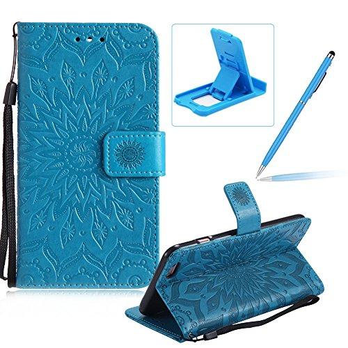 Coque iPhone 6S Plus Portefeuille Etui, Herzzer Housse en PU Cuir Case à Clapet iPhone 6 Plus Mandala Fleur Motif Coque de Protection Fente Carte Fonction Support Fermeture Magnétique avec Lanyard Str Bleu