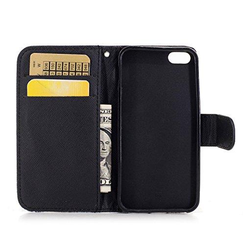 Custodia iphone SE / 5 / 5S Cover ,COZY HUT Flip Caso in Pelle Premium Portafoglio Custodia per iphone SE / 5 / 5S, Retro Animali di cartone animato Modello Design Con Cinturino da Polso Magnetico Sna Cane Keke