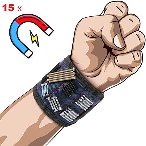 Magnetarmband Handwerker mit 15 besten Leistungsstarken Magneten. Geschenk DIY gadget für elektriker, frauen und männer. magnetisches armband heimwerker zum halten die Schrauben, Nagel und Werkzeuge.