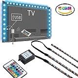LED TV Hintergrundbeleuchtung, 2M USB Bias Beleuchtung Mit 16 Farben Und 4 Dynamischen Modus Für 40 Bis 60 Zoll HDTV, PC-Monitor, LED-Lichtleiste. (4 X 50 Cm LED-Streifen)