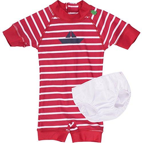 Fred's World by Green Cotton Baby - Mädchen Einteiler Swimsuit 1568002900, Gestreift, Gr. 92, Rot (Red 019176206)