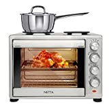 NETTA 45L Electric Mini Oven with Double Hotplate, Multiple Cooking Functions & Grill