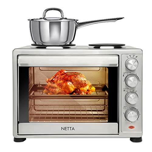 NETTA 35L Electric Mini Oven with Double Hotplate, Multiple Cooking Functions & Grill, Adjustable Temperature Control,Timer - 1500W