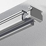 Garduna 240cm eckige Schleuderschiene Gardinenschiene Vorhangschiene, Aluminium, silber eloxiert, 1-läufig - vorgebohrt!