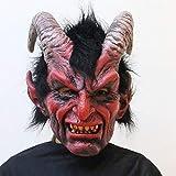 Skeby Maschera di Halloween Film Horror,Nightclub di Halloween Ghost Festival, Maschera di Lattice con Diavolo di Pecora Cornuta E Corna Rosse