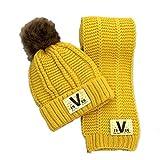 Kauftree 1 Set Baby Kinder Mütze Beanie + Schal Wintermütze Strickmütze Bommelnmütze Halstuch Winter Warm Jungen Mädchen (Gelb)