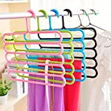 #10: MSE multifunctional Clothes Hanger Plastic 5 Layers Pants Trousers Hanger Holder Clothes Rack Drying Holder Necktie Belt Tie Scarf Towels Non-Slip Hanger Storage Organizer 33.5cm*34cm-pack of 1(Assorted Colour Will Be Shipped)