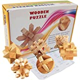 Joyeee 6 Piezas Cubo 3D Rompecabezas de Madera Juego Puzle - Desafiar su Pensamiento lógico - Ideal Regalo y Decoración