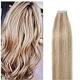 Tape Extensions Echthaar -100% Remy Echthaar Haarverlängerung glatt Light Aschblond/Weißblond,45cm-50g (20 stück+10pcs free tapes)