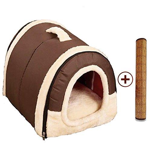 Cama Perro Gato 2 en 1, Casa Mascota Interior Grande o Pequeño, Lavable Plegable Portátil Nido de Viaje para Perros Grande/Medianos y Gatos (L:60cmx45cmx45cm, Marron)