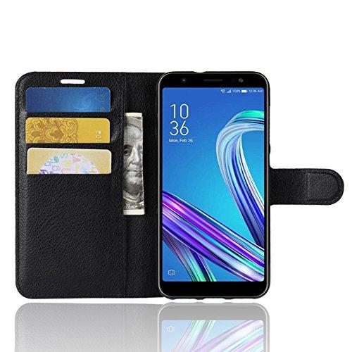 AOBOK Asus Zenfone Max Pro M2 Hülle, Schwarz Premium Leder Hülle Flip Case Tasche Cover Hüllen mit Magnetverschluss Standfunktion Schutzhülle handyhüllen für Asus Zenfone Max Pro M2 Smartphone
