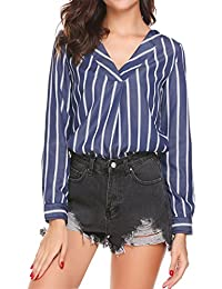 533caaa46460 Parabler Bluse Gestreift Damen Hemd Oberteile V-Ausschnitt Lose Casual  Chiffon Langarm T-Shirt Top Tunika Elegant…