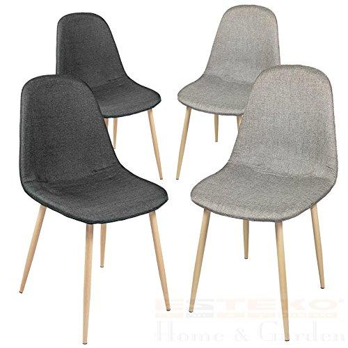 Esszimmerstühle 2/4/6/8 St. Essstuhl Esszimmerstuhl Lehnstuhl Stuhlgruppe Stuhl (6 Stück, Grau / Schwarz)