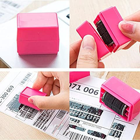 IGEMY 1Pcs Guard Your ID Roller Stamp SelfInking Stamp Messy Code Security Office (Pink)