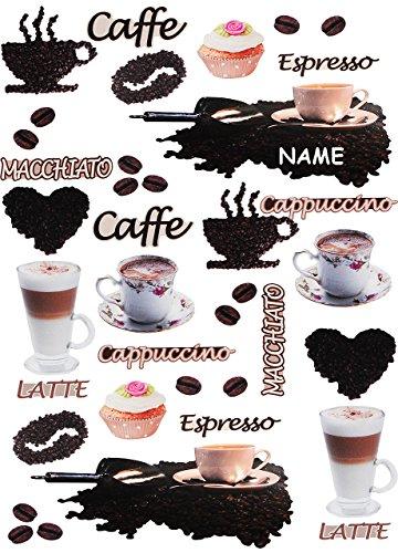 Unbekannt 38 TLG. Set _ XL Wandtattoo / Sticker -  Kaffee / Espresso - Latte & Cappuccino  - incl....