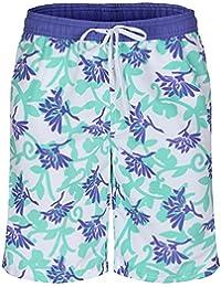 Soul Star Men's Floral Print Swim Shorts - Purple/Green/White - Large