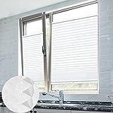 Grandekor Plissee Klemmfix Plisseerollo Ohne Bohren Weiß 65X100cm(BxH) EasyFix Jalousie Sonnenschutz für Fenster & Türn