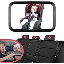 Starcrafter Espejo retrovisor de bebé, Espejo coche bebé 360° visión de ángulo amplio para Vigilar al Bebé en el Coche de Asiento Trasero de Mayor Seguridad (290 x 190 mm)