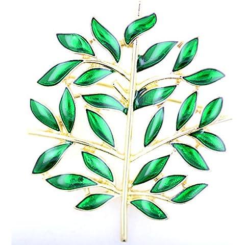 Lizzyoftheflowers–oro tono esmalte verde broche con forma de árbol de bolsa Pin, para regalo de Navidad