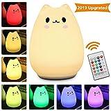 LED Nachtlicht Kinder, Elfeland Nachttischlampe Nachtleuchte LED Schlummerleuchte Katzenform (13 Farbmöglichkeiten, 6 Lichtmodi, Dimmbar, Sicheres ABS& Silikon, Praktische USB-Ladeoption) - Wen