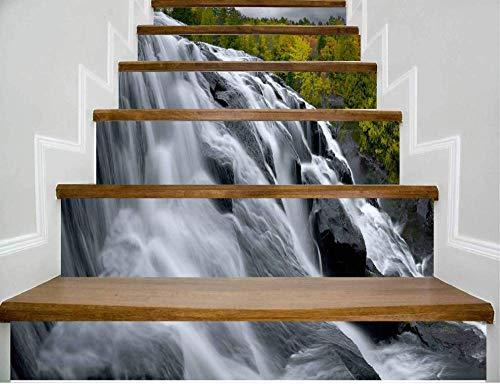 Scenic Wasserfall Landschaft 6 Stück Vinyl Aufkleber wasserdicht PVC Treppe Aufkleber Treppe Wandaufkleber Wandbild Treppe Aufkleber