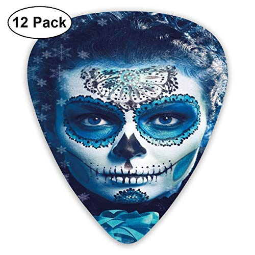 Guitar Picks - Abstract Art Colorful Designs,Santa Muerte Concept Winter Season Ice Cold Snowflakes Frozen Dead Folkloric,Unique Guitar Gift,For Bass Electric & Acoustic Guitars-12 Pack