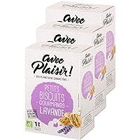 Petits biscuits Bio gourmands à la lavande - avec Plaisir ! - lot de 3 paquets de biscuits sucrés
